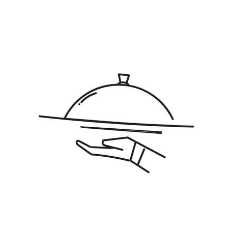 hand drawn doodle Catering service icon illustration vector