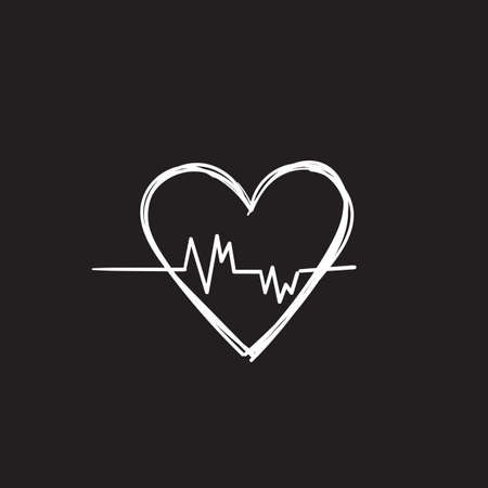 hand drawn doodle heart beat icon illustration vector
