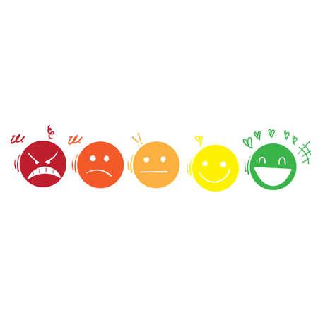 hand drawn doodle user experience feedback emoticon vector