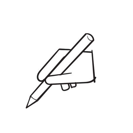 hand drawn hand hold pen and writing or drawing illustration vector Ilustração