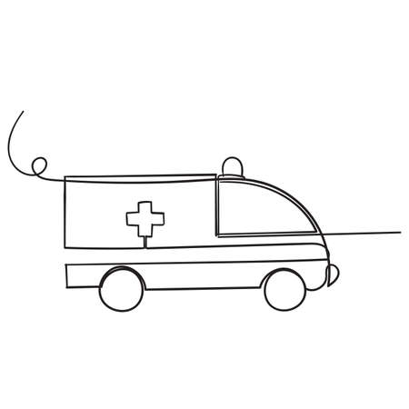 hand drawn doodle ambulance illustration icon vector isolated