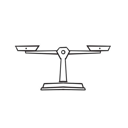 hand drawn doodle libra scales icon illustration vector isolated