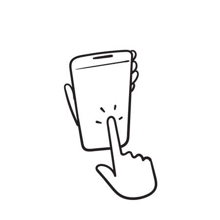 hand drawn hand hold and touch smartphone illustration icon vector
