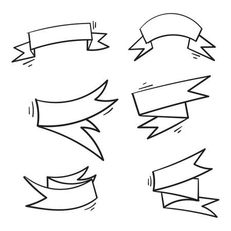 hand drawn ribbon banner set doodle illustration vector isolated