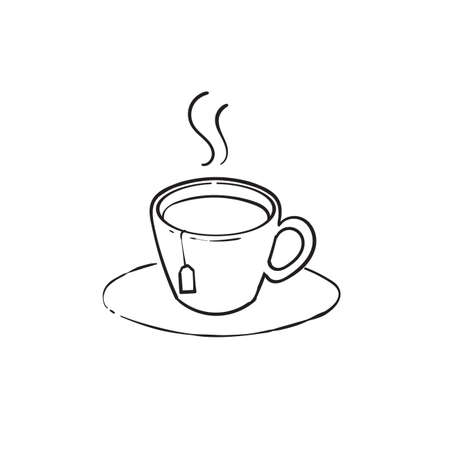 hand drawn doodle cup of tea with hot yummy aroma illustration icon vector Ilustração