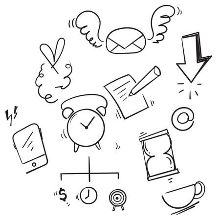 hand drawn doodle business infographic element illustration icon Ilustração