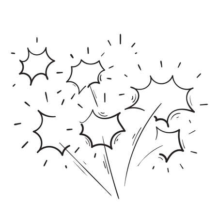 hand drawn doodle fireworks illustration icon vector