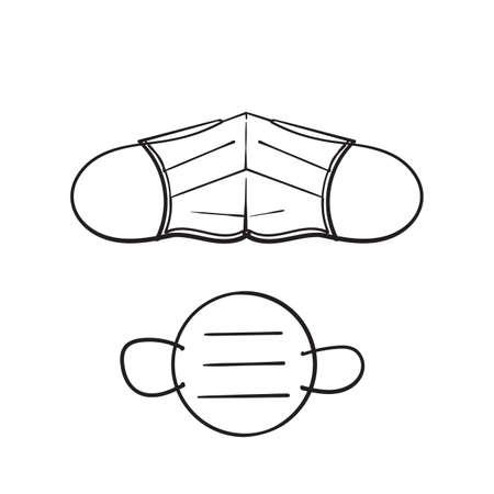 doodle face mask or medical mask icon illustration sketch handdrawn style