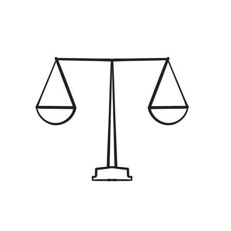 hand drawn Justice scales line icon. Judgement scale sign. Legal law symbol. doodle