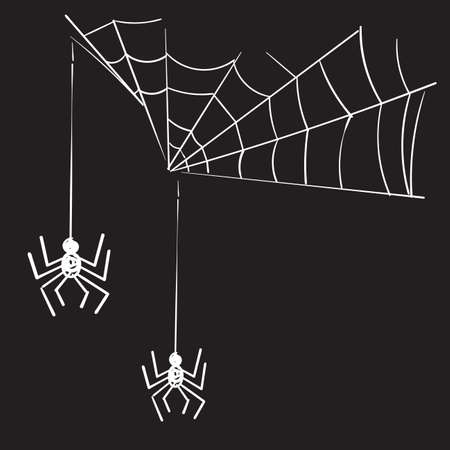 hand drawn doodle spider web illustration vector isolated background