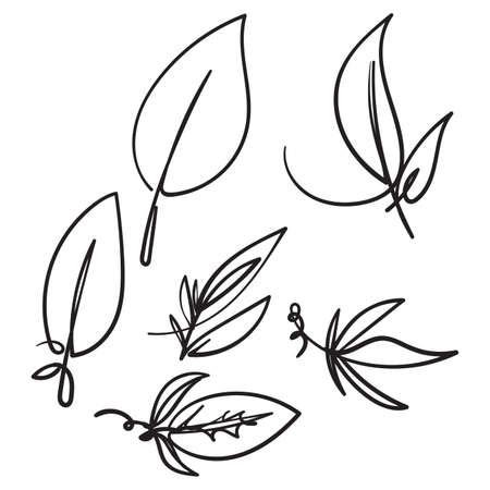 hand drawn Leaf simple icon set doodle illustration