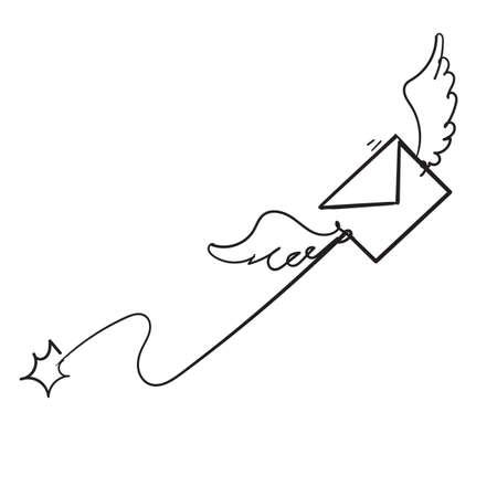 hand drawn Send message envelope icon doodle illustration vector