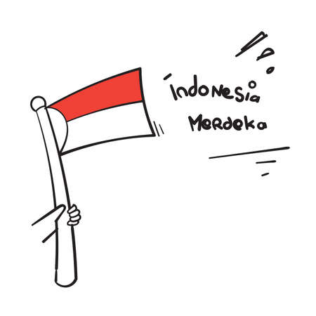 hand drawn doodle red and white flag and typography symbol for indonesian independence day celebration vector