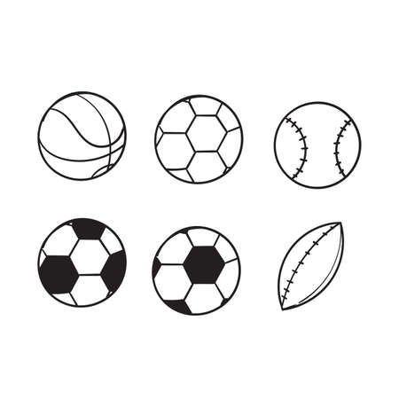 hand drawn doodle sport ball collection illustration icon isolated