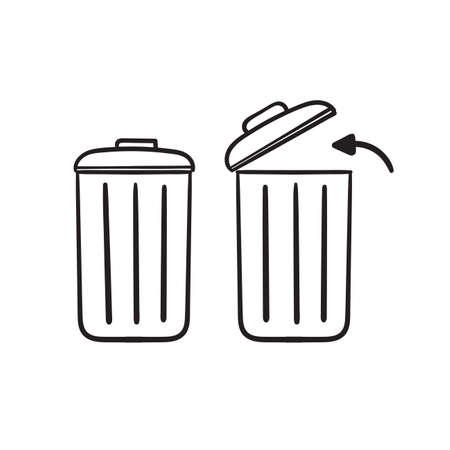 hand drawn trash bin icon with arrow symbol illustration isolated background
