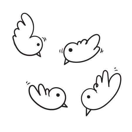 hand drawn doodle bird illustration icon for your design or social media. vector Stock Illustratie