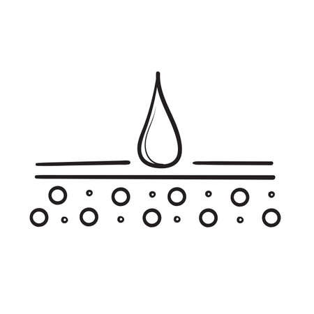 hand drawn Moisture cream line icon. symbol for Skincare illustration, sign for cosmetics packaging. doodle style