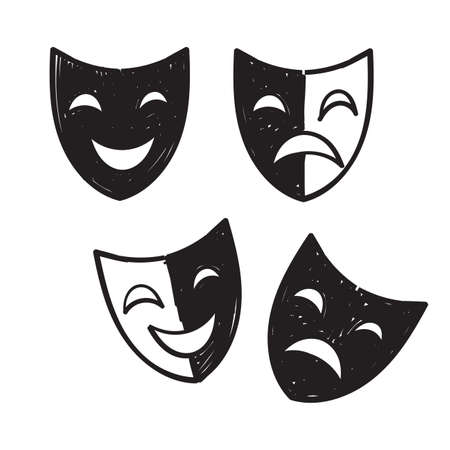 hand drawn doodle theater mask icon illustration vector isolated 向量圖像