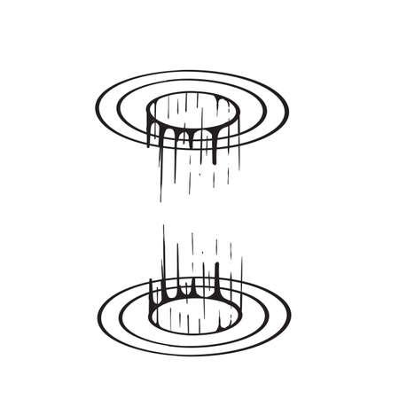 hand drawn Magic circle teleport podium portal illustration vector isolated