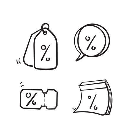 hand drawn Simple Set of Discount Related Vector Line Icons. in doodle cartoon style