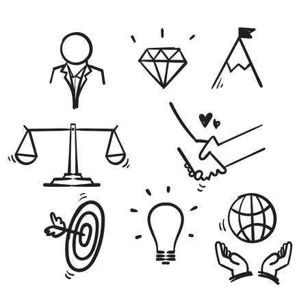 hand drawn doodle icon symbol for core values set isolated background