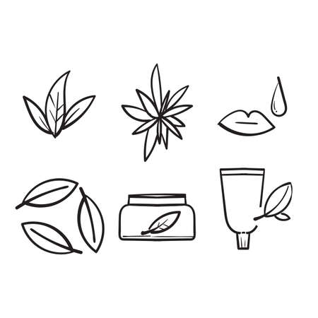 hand drawn Natural and organic cosmetics icons set. Skincare, no synthetic fragrance. with doodle style vector