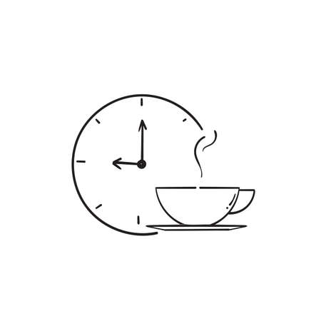hand drawn symbol for coffee time icon, tea time sign. isolated in doodle style