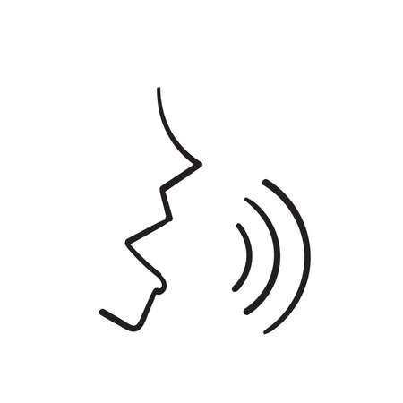 hand drawn doodle Voice recognition concept. Voice control isolated Ilustração