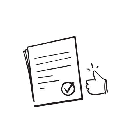 hand drawn doodle document symbol for approval icon, accredited, authorized agreement. isolated