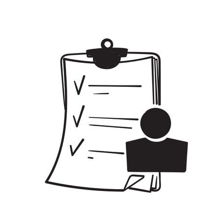 hand draw doodle user checklist icon, manager candidate, account activity illustration vector