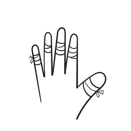 hand drawn hurted finger with bandage icon, hurt injured finger illustration in doodle style Ilustração