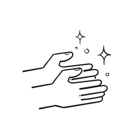hand drawn clean shiny hands icon, care and hygiene for hand, sanitizer symbol isolated. Ilustração