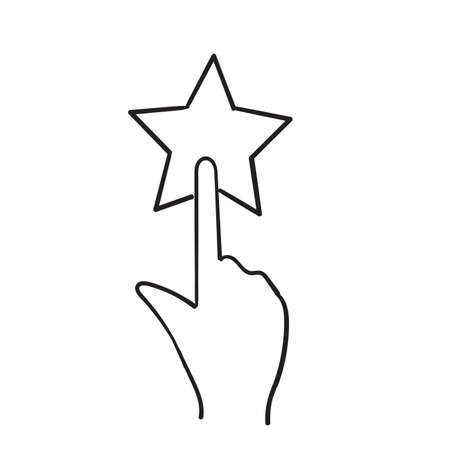hand drawn finger tap star icon illustration symbol for feedback doodle