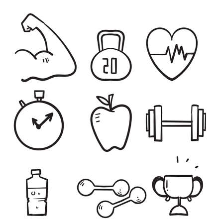 hand drawn Fitness and sport icons set. Healthy lifestyle symbols illustration isolated background doodle Ilustração