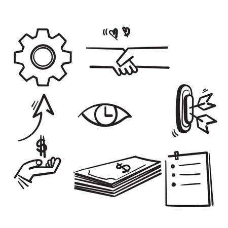 hand drawn set of linear icons related to finance management, trade service and investment strategy in doodle style vector