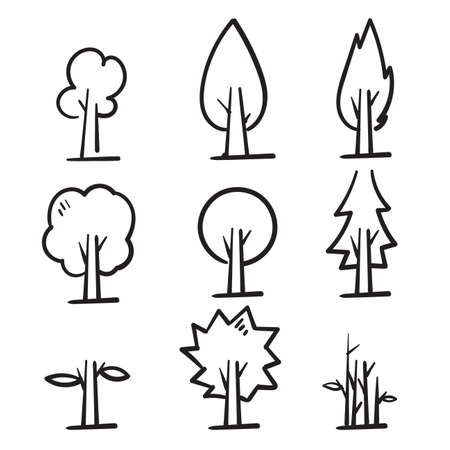 hand drawn tree icon collection illustration in doodle style vector isolated Ilustração