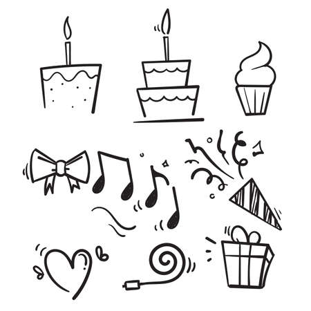 hand drawn Happy Birthday Party line icon set in doodle style vector isolated