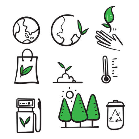 hand drawn Ecology and Environment related line icon in doodle style vector isolated