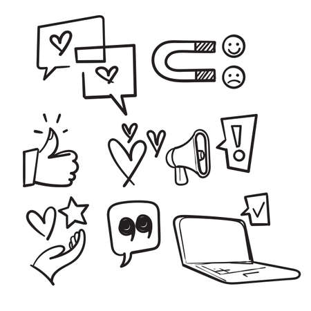hand drawn set of feedback icons, research, comment, review, customer, survey, in doodle style vector isolated Ilustração