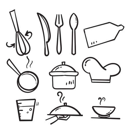 hand drawn doodle Cooking line icons illustration collection isolated