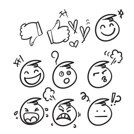 hand drawn emoji character emoticons comment for social media in doodle style vector isolated