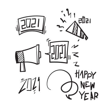 hand drawn doodle illustration symbol for happy new year 2121 in cartoon art style Ilustração
