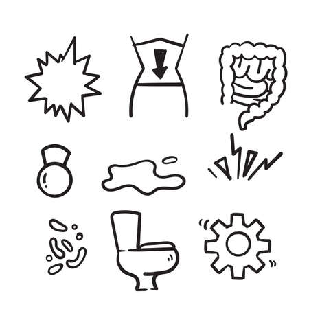 hand drawn Symptoms of abdominal disease flat line icons set in doodle style vector isolated Ilustração