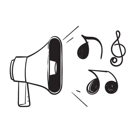 hand drawn doodle megaphone and music note illustration vector isolated Ilustração