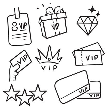 hand drawn Simple Set of VIP Related Vector Line Icons in doodle style vector isolated Ilustração