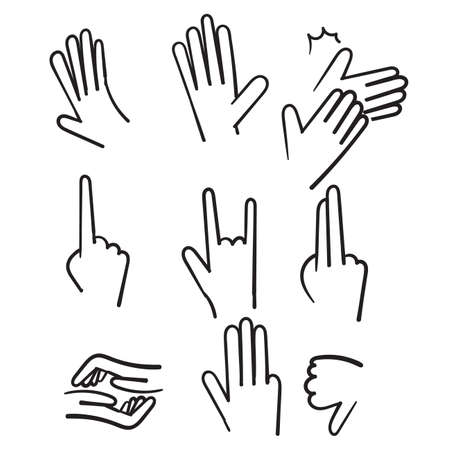 hand drawn Hand gestures line icons illustration in doodle style vector