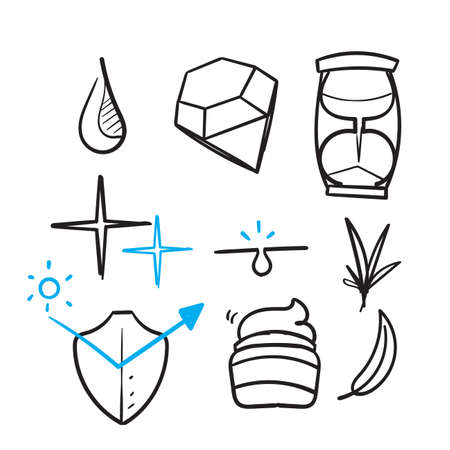 hand drawn Cosmetic Properties and Effects related illustration icon isolated doodle Ilustração