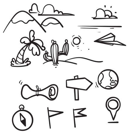 hand drawn doodle geography illustration related isolated