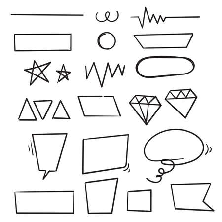 hand drawn doodle shape element illustration icon isolated