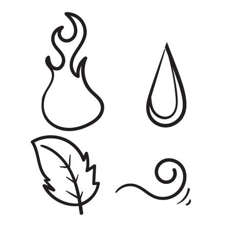 hand drawn doodle nature element collection icon illustration Ilustração